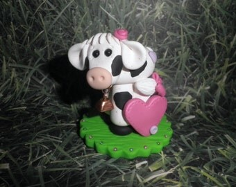 """Polymer Clay """" Pretty Little Miss Bossy Cow """" Personalized Cake Topper,Keepsake,Gift"""