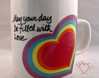 Love Mug Easter Coffee Cup Tea Cocoa Avon 1983 Heart May Your Day Be Filled with Love