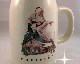 Merry Christmas Series Beer Mug Stein Being Good Collectible Barware Saturday Evening Post Santa Norman Rockwell Limited Edition 1983