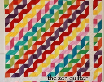 Twisted Ribbon Rainbow Modern Quilt