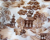 Vintage 60s Japanese Pagoda Novelty Print Cotton Blend Fabric Remnant 2 Yards