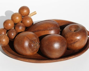 Wood Fruit Bowl Set Table Centerpiece Monkeypod