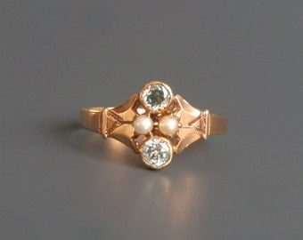 Victorian Blue Zircon & Pearl Ring. 14k Rose Gold.