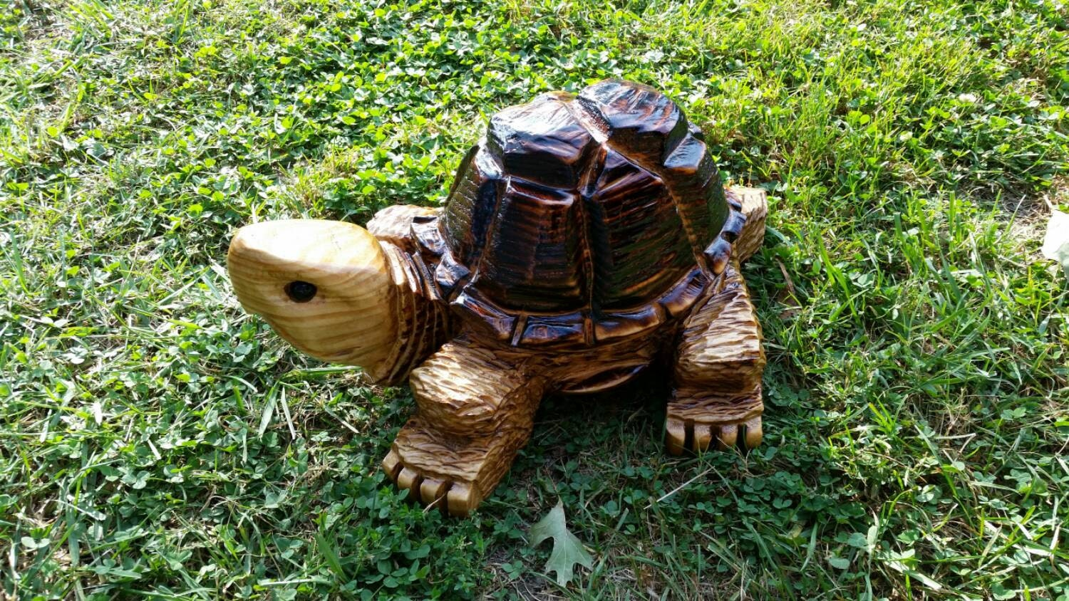Chainsaw carving carved turtle