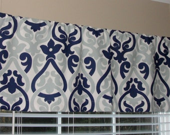 "Premier Prints Navy and Light Blue Double Damask Valance 50"" wide x 16"" long Lined or Unlined"
