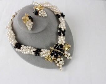 Vintage Trifari Kunio Matsumoto Faux Pearl  and  Black Enamel Grape Set of  Earrings & Necklace