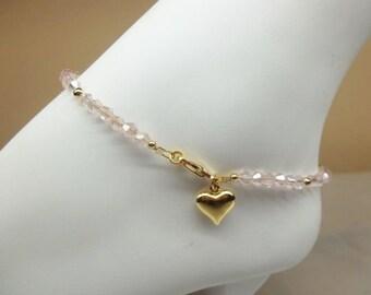 Girls Anklet Toddler Anklet Light Pink Anklet Crystal Ankle Bracelet Gold Anklet Adjustable Anklet 14k Gold Plate BuyAny3+Get1Free