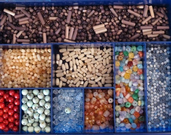 Beads, Mixed Beads in Container, Bead Bundles, Over a Pound of Beads, Mish Mash of Beads, Destash Jewelry Supplies, Bead Lot