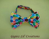 VHC Custom made Adjustable Infant  to toddler Bow tie. Made from VHC fabric.