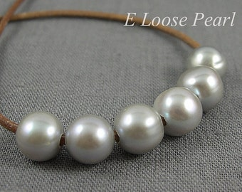 Potato pearl Large Hole Freshwater Pearls Round Pearl leather pearl Grey pearl necklace 9.5-10.5mm 10 Pieces 2mm Hole