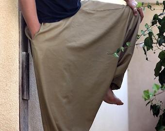 Long Men's Harem pants with pockets. Drop Crotch, Loose fit, Baggy, Wide leg pants, Pants for yoga and meditation, Big fabric choice!