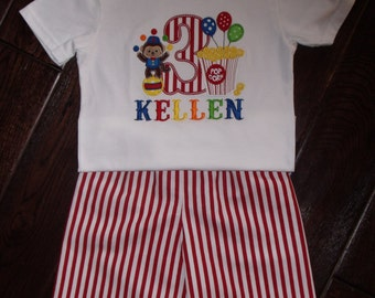 Boy Circus Birthday Shirt, Personalized Circus Outfit, Embroidered Circus Shirt, Boys Birthday Circus Outfit
