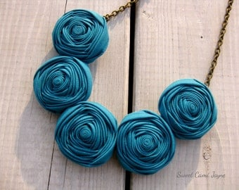Rosette Necklace Teal Blue Fabric Necklace Bib Necklace Statement Necklace Fabric Jewelry Fabric Flower Necklace Wearable Art