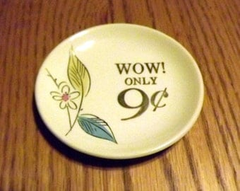 WOW!, 1950's, advertising, plate, vintage, china, Mid Century, Modern, Atomic, flower, miniature, pin tray