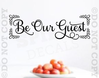 Be Our Guest Vinyl Wall Decal Sticker Quote Family Kitchen Lettering Decor