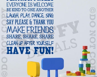 Playroom Rules Nursery School Fun Share Quote Vinyl Wall Decal Sticker Decor V2