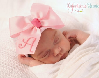ANY INITIAL baby girl hat newborn girl hat newborn baby girl hospital hat monogrammed bow infanteenie beanie newborn girl take home outfit