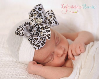 leopard baby girl hat, newborn hospital hat, baby girl newborn outfit newborn girl take home outfit baby girl coming home outfit newborn hat