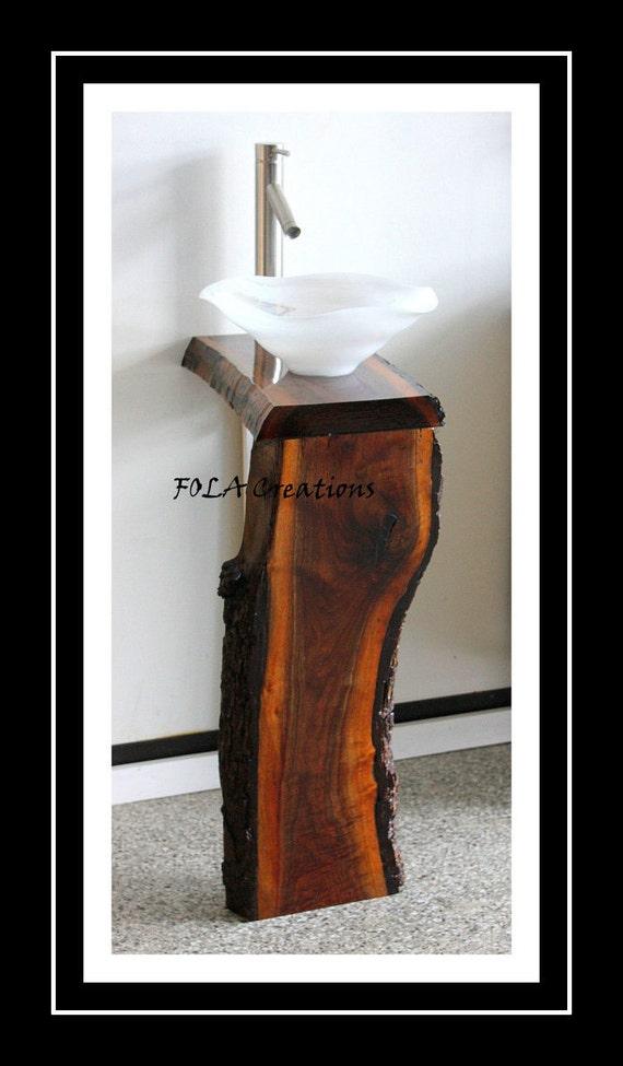 Narrow Depth Pedestal Sink : Narrow Live Edge Black Walnut Hardwood Vessel Sink Vanity Pedestal ...