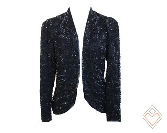 1980s - early 1990s sequined silk jacket with swirl pattern // puff-sleeve open jacket / size small - medium