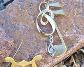 Musically Inclined Recycled Musical Notes Treble Clef Necklace