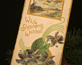 """Raphael Tuck & Sons """"While Shepherds Watched"""" Christmas Booklet circa 1909"""
