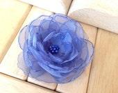RESERVED for Lilibeth M - Flower Hair-Clip Headband Brooch - Periwinkle Organza - MEDIUM