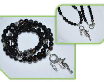 Men Necklace, Love Bead Men's Necklace, XO Charm Necklace,  Black Agate Necklace, Gemstone Necklace, Unisex Necklace