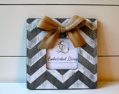 Chevron Picture Frame.  Distressed and Weathered Grey Frame, with optional Jute bow. Home Decor. Wedding Gift.