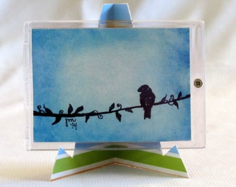 Bird On A Wire - Blue Painting - Original Watercolor - ACEO - Bird Art - Small Painting - One Of A Kind - Framed Art - Home Decor - Tiny Art