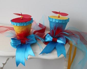 Alice In Wonderland Mini Hats - Tweedle Dum & Tweedle Dee - Girls Top Hat - Matching Top Hats