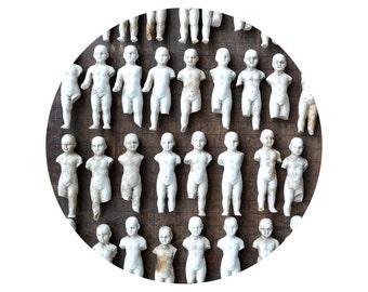 """ONE Damaged Antique German Bisque doll part, frozen charlottes, 2.5 to 3.2"""", victorian dolls,  from Elizabeth Rosen"""
