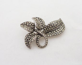 Sterling Silver and Marcasite Brooch, Sterling Silver Leaf Marcasite Brooch, UK Seller