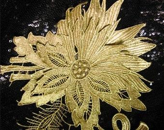 metallic gold flower lace applique, golden lace applique, peony lace applique