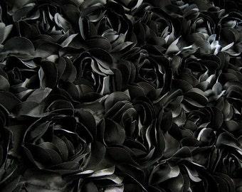 black rosette fabric, satin rosette lace fabric, photography backdrop