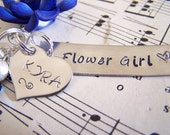 Personalized Hand Stamped Flower Girl Necklace, Hand Stamped Custom Name Necklace, Bridesmaid Gift Idea