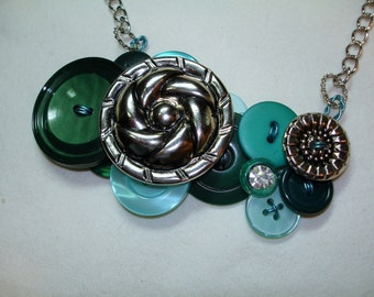 Vintage Button Necklace -EMERALD GLOW - Emerald green buttons - Aqua blue buttons -Silver Buttons - Button Jewelry- OOAK