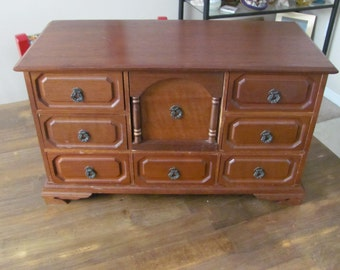 Large Vintage Wooden Musical Jewelry Box
