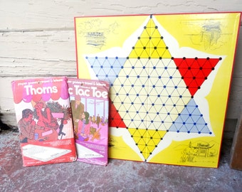 Vintage games travel games.  thorns.  tic tac toe. chinese checkers. children's games.