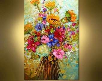 "ORIGINAL contemporary Summer Bouquet  Abstract oil painting by Nizamas 36"" x 24"" hand painted ready to hang"