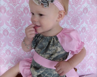 Parley Ray Pink ACU Peasant Dress Army Baby Girl