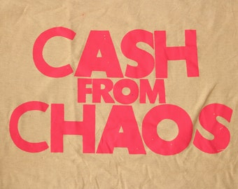 "Seditionaries - Cash from Chaos - Punk - Rock and Roll Swindle - Tshirt - Sand -mustard- large Size - Sm 36""-Med 38"""