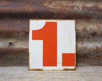 Vintage Sign Metal Number Sign Number 2 or 1 Double Sided Old Gas Station Number Orange White Rusted Rustic Metal vtg Gas Station Sign