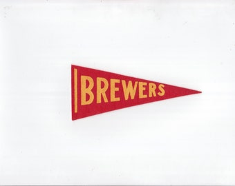 Vintage Baseball Pennant Milwaukee Brewers Red & Yellow 1970s SMALL Felt Pennant Mini Flag Sports Collectible Sports Decor Gameroom Man Cave