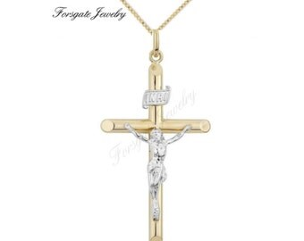 Two Tone Gold Filled CRUCIFIX Cross Pendant Necklace Chain Set.