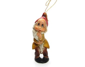 Dwarf Ornament Miniature Vintage Gnome, Elf or Pixie Christmas Tree Decoration with Beard