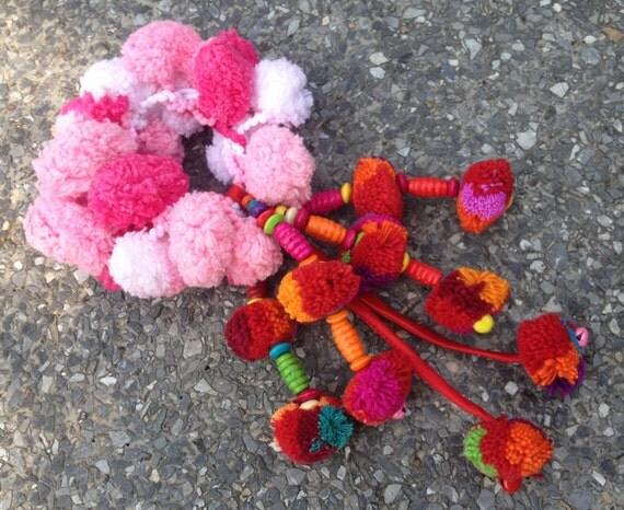 Elastic Pink Colourful Pom Pom Hair Band / Ponytail Holders