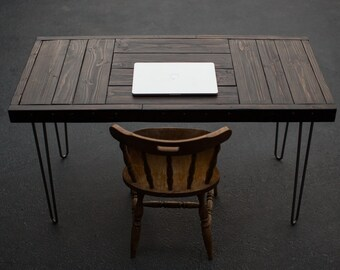 """Rustic & Modern """"patchwork"""" desk from upscaled wood w/ hairpin legs"""