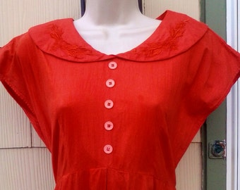 Vintage 1940s 1950s Red Orange Day Dress Peter Pan Collar Large Rockabilly VLV Medium