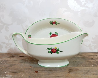 Gravy Boat and Drip plate, Painted Poppies, green and red, Alfred Meakin, made in England, sauce dish